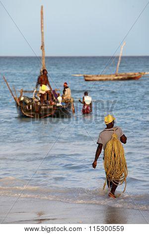 Boats On The Indian Ocean Off Nungwi, Zanzibar