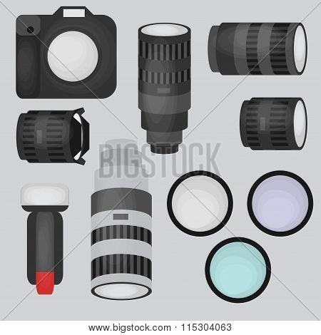 Set Of Photo Studio Equipment, Camera And Optic Lenses Flat Icons