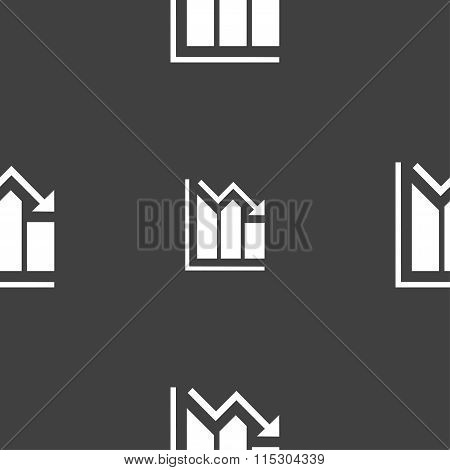 Histogram Icon Sign. Seamless Pattern On A Gray Background.