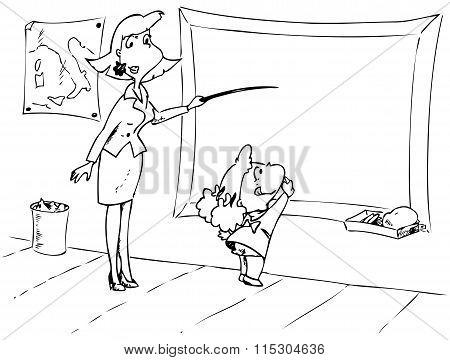 Teacher and little girl vector