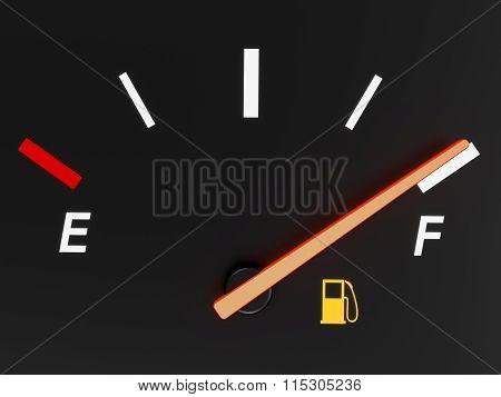 Closeup of a car fuel gauge