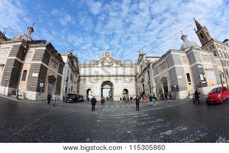 Porta Del Popolo Gate Of The Aurelian Walls, Rome