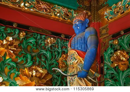 NIKKO JAPAN - NOVEMBER 17 2015: Umarokya - One of the four guardians at the Yashamon Gate of Taiyuinbyo - the Mausoleum of Shogun Tokugawa