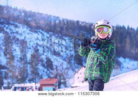Little Skier Portrait In Ski Areal