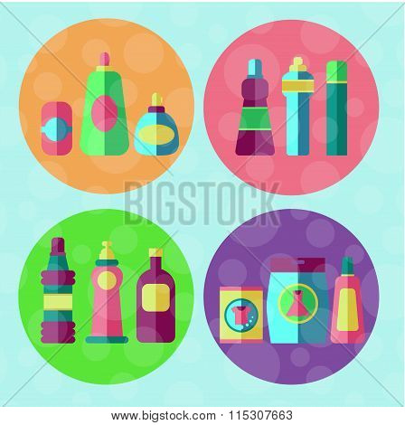 Cleaning agents vector set.