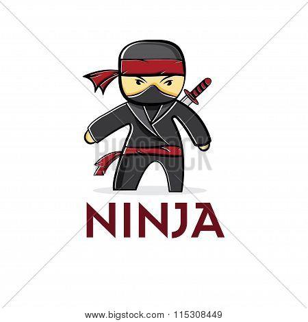 cartoon boy ninja vector illustration design template