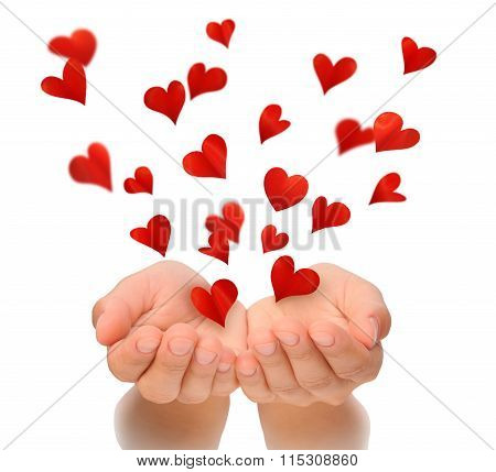 Flying hearts from hands Valentine's Day Happy Valentines day love concept birthday card isolated