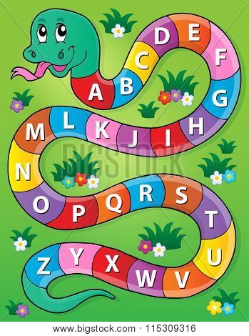 Snake with alphabet theme image 2 - eps10 vector illustration.