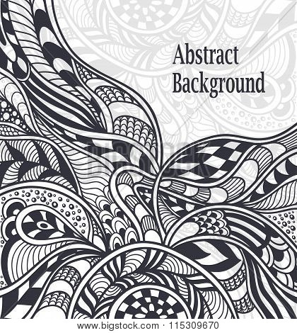Abstract background in Zen-tangle  Zen-doodle style black on white