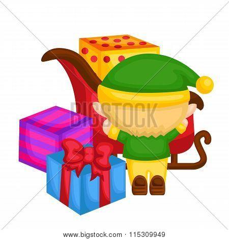 Little elf arrange the presents
