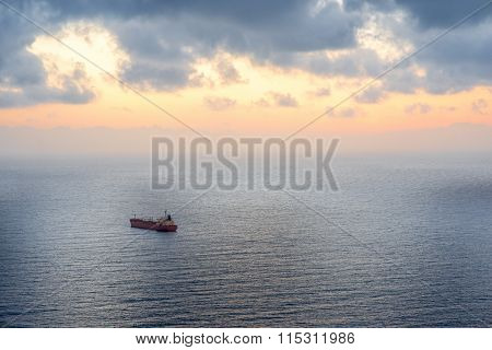 Cargo ship in the ocean