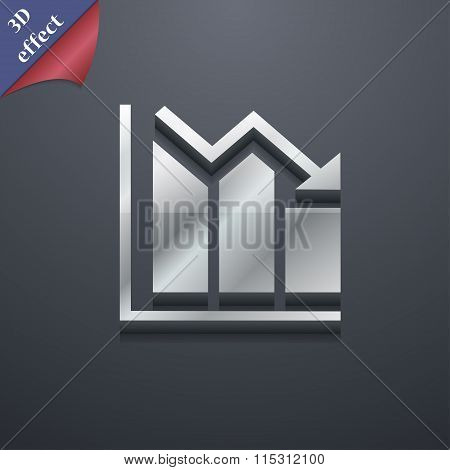 Histogram Icon Symbol. 3D Style. Trendy, Modern Design With Space For Your Text
