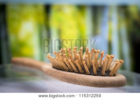 comb brush with lost hair