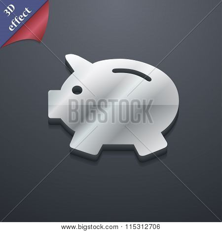 Piggy Bank - Saving Money Icon Symbol. 3D Style. Trendy, Modern Design With Space For Your Text