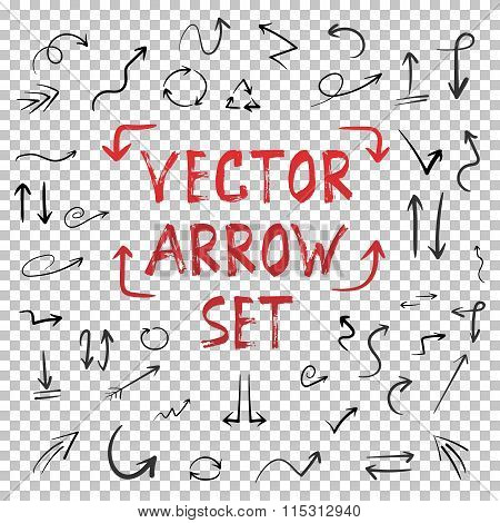 Handdrawn Vector Handmade Arrow Set Isolated on Transparent PS S