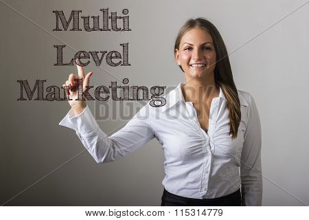 Multi Level Marketing Mlm - Beautiful Girl Touching Text On Transparent Surface