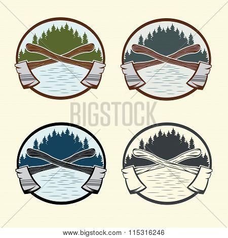 Set Of Vintage Lumberjack Labels And Design Elements