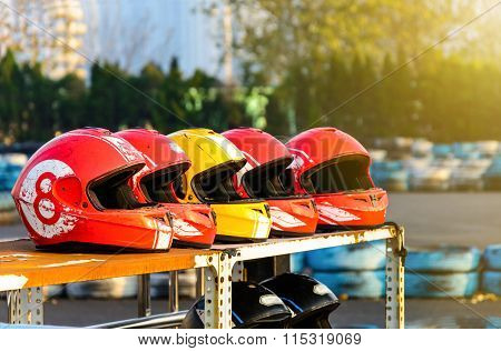 Group Of Helmet For Karting In Race