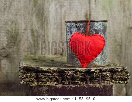Heart Hung Rusty Tin