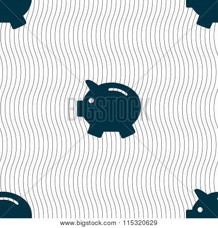 Piggy Bank - Saving Money Icon Sign. Seamless Pattern With Geometric