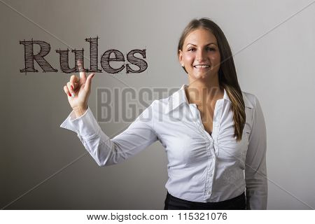 Rules - Beautiful Girl Touching Text On Transparent Surface