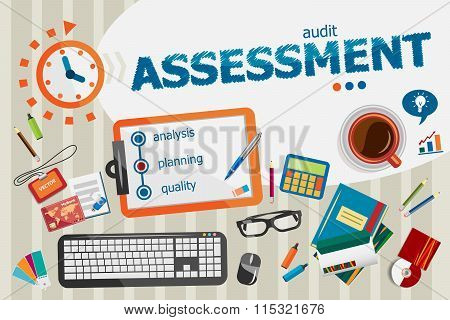 Assessment Concept. Typographic Poster.