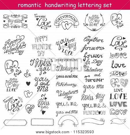 Valentines day design,labels,calligraphic set.Black
