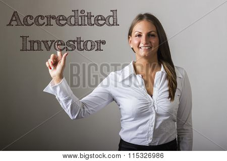 Accredited Investor - Beautiful Girl Touching Text On Transparent Surface