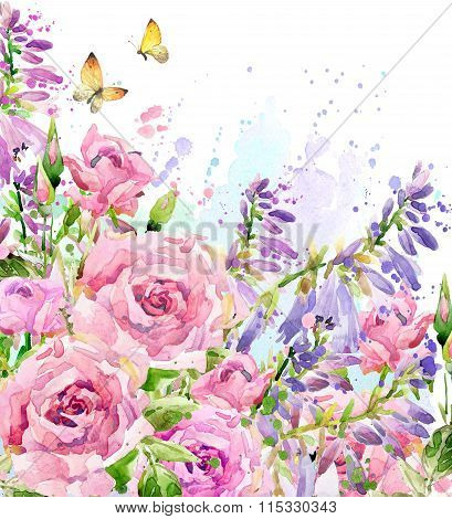Watercolor garden flower. Watercolor rose illustration. Watercolor flower background. Nature backgro