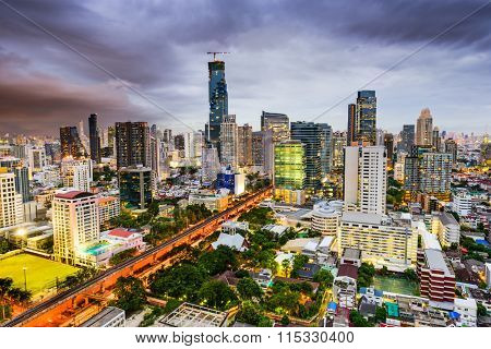 Bangkok, Thailand Financial district skyline.
