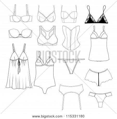 Fashion Illustration - Set of different underwear items - industrial flat fashion sketch