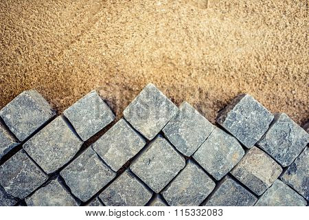 Construction Of Pavement Details, Cobblestone Pavement, Stone Blocks On Road Construction Site