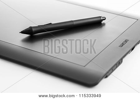 Varna, Bulgaria - January 10, 2016 Wacom Intuos Pro Graphic Tablet With Pen Isolated