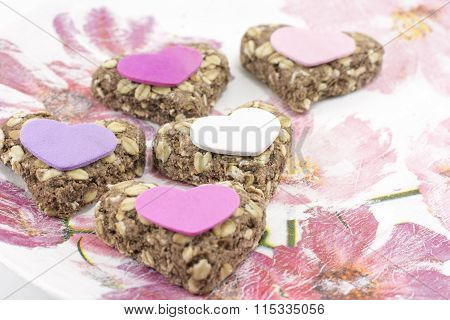Heartshaped Cookies Made From Integral Flour