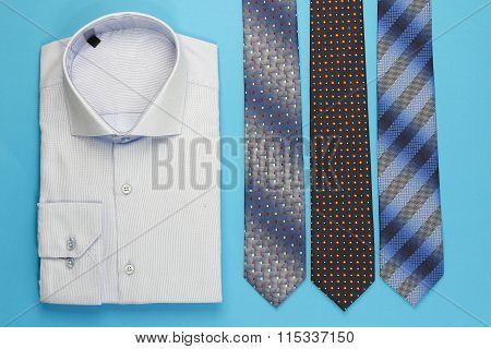 Group of colorful neckties and shirt