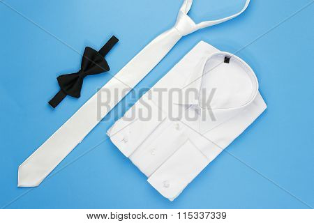 White man shirt with bow and tie