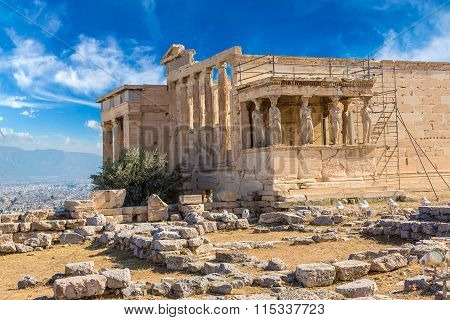 Erechtheum Temple Ruins On The Acropolis  In Athens