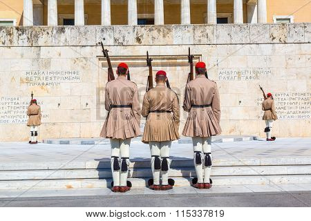 Ceremonial changing guards in Athens Greece in a summer day poster
