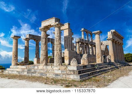 Aphaia Temple On Aegina Island, Greece
