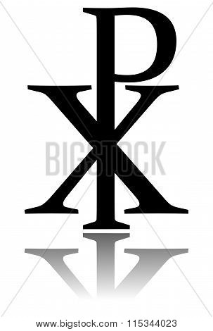 Glossy Chi Rho Symbol With Drop Shadow