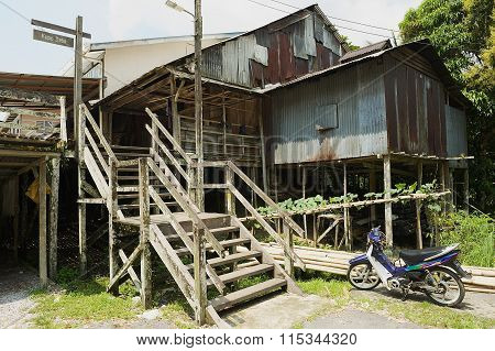 Exteriror of the Kupo Saba longhouse at Annah Rais Bidayuh village in Kuching, Malaysia.