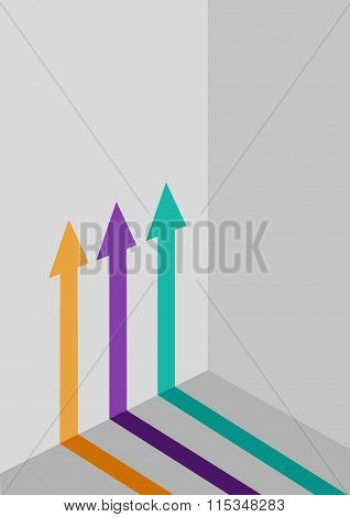 Three Graphical  Arrows in Different Colors Pointed Upwards on a Wall.