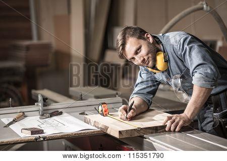 Smiling Craftsman During His Work