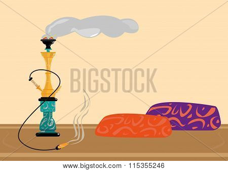 Traditional Sisha or Shisha Recreational Smoking Area. Flat Artwork Editable Clip Art.