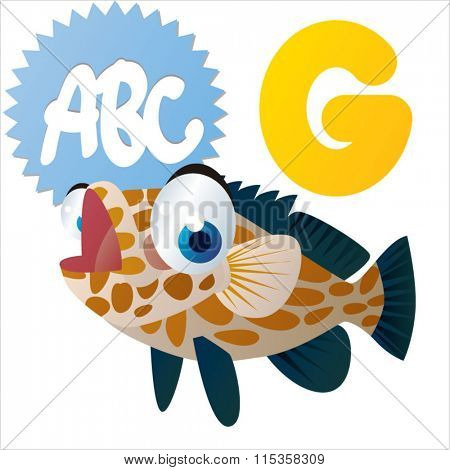 funny comic reading animals abc: G is for Grouper