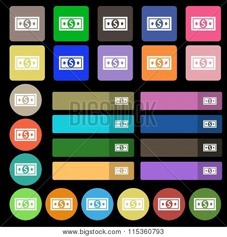 Money, Dollar Icon Sign. Set From Twenty Seven Multicolored Flat Buttons.