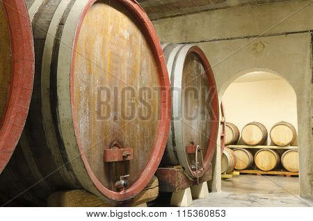 Provence, France - july 2012: old wine barrels in a cellar