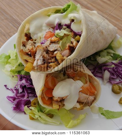 turkish doner kebab shawarma roll with meat and pita bread