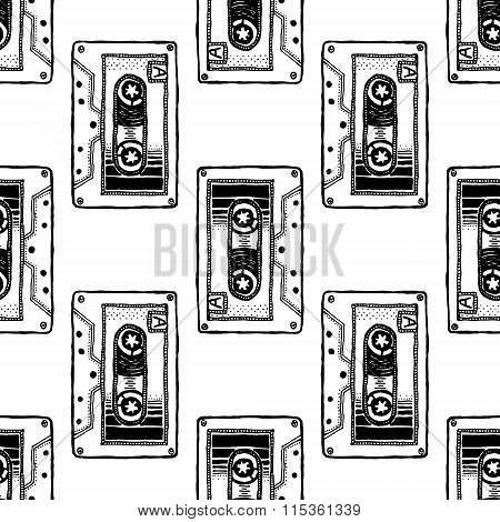 Audio Cassette. Art for t-shirt design