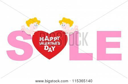 Valentines Day Sale. Cupid Holding A Heart. Discounts To Shop During Holidays. Emblem For Storefront